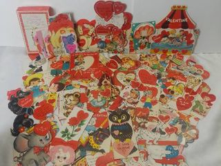 Small lot of Vintage Valentine s Day Cards   Carousel  Bowling Valentine  Valentine s with Envelopes and other Vintage Heart Cards