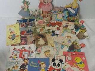 Small lot of Vintage Easter Christmas and Birthday Cards   Ducks  Tractor Babies and Other Characters