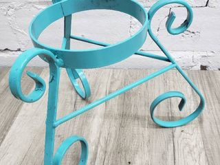Teal Triangular Plant Stand