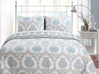 Cozy line Kamala Damask 3 Piece Reversible Cotton Quilt Set  Retail   79 99