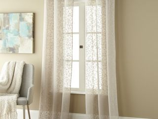 Gardenia Sheer Grommet Curtain Panels  Set of 2  Retail   37 99