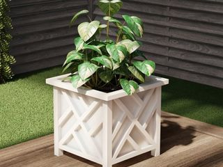 Plant Pot Holder  Planter Container Box by Pure Garden   White Retail   17 99