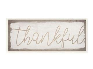 Stupell Industries Playful  Thankful  Text Distressed Paint Pattern Wood Wall Art   Retail   34 49