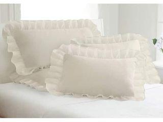 Cotton Blend Poplin Ruffled Pillow Shams  Pack of 2    Retail   26 11