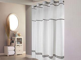 Hookless Shower Curtain Monterey White Black   Retail   56 49
