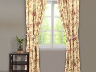 Greenland Home Fashions Antique Rose   84l x 42W in  Window Panel Pair with Tiebacks   Retail    53 49