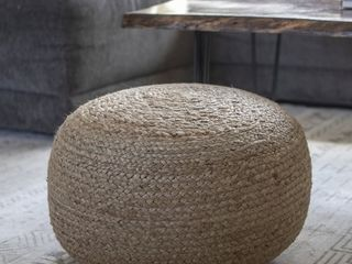 The Curated Nomad Molino Round Woven Pouf   Retail   55 78