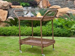 Pensacola Wicker Patio Serving Cart by Havenside Home   Retail 119 99