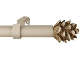 3 4  Farmhouse Pinecone Curtain Rod Adjustable Designer Window Single Rod   Retail    38 49
