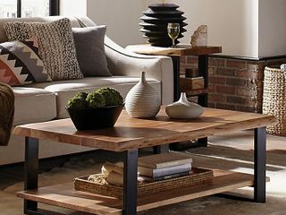 Alpine live Edge Solid Wood 48in Coffee Table live Edge   Retail   514 90
