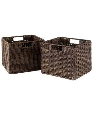 Winsome Wood Granville 2 PC Small Folding Corn Husk Baskets  Chocolate