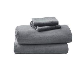 Cozy Fleece Warm and Cozy Super Plush Flannel Fleece Sheet Set  Steel Grey  Queen