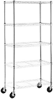 Amazon Basics 5 Shelf Shelving Storage Unit on 4  Wheel Casters   Metal Organizer Wire Rack  Chrome Silver  30l x 14W x 64 75H
