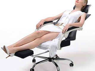 Hbada Ergonomic Office Recliner Chair   High Back Desk Chair Racing Style with lumbar Support   Height Adjustable Seat  Headrest  Breathable Mesh Back   Soft Foam Seat Cushion with Footrest  White Retail  178
