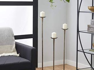 Deco 79 38038 Tall Metallic Gray Candle Holders  Set of 3  27  x 32  x 40