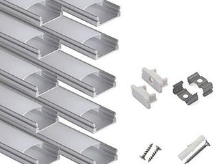 hunhun 10 Pack 3 3ft 1Meter U Shape lED Aluminum Channel System with Milky Cover  End Caps and Mounting Clips  Aluminum Profile for lED Strip light Installations  Very Easy Installation