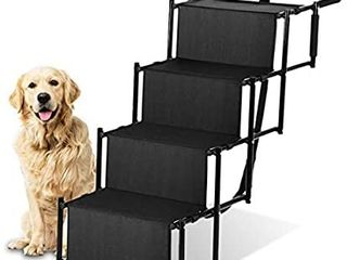 Zone Tech Car Pet Foldable Step Stairs   Premium Quality lightweight Portable Travelling Adjustable Metal Frame Folding Ramp Stairs Perfect for Any Size of House Pets