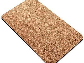 Delxo Doormat Super Absorbent Mud Doormat 18x30 Inch 2020 Upgrade No lint Shedding Durable Anti Slip Rubber Back low Profile Entrance large Cotton Shoe Scraper Pet Mat Machine Washable  Beige