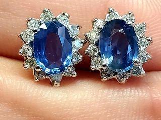 6100 14K Sapphire 2 25ct  Diamond 0 32ct  Earrin