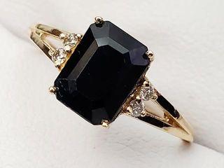 1660 14K Enhanced Sapphire 1 3ct  Diamond 0 04ct