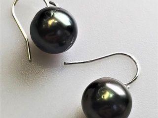 600 Silver Tahitian Pearl  10 11Mm  Earrings
