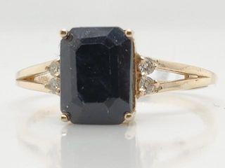 1745 10K Blue Sapphire 1 3ct  Diamond 0 04ct  Ri