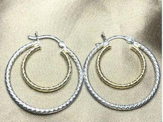 100 Silver large Hoop Earrings