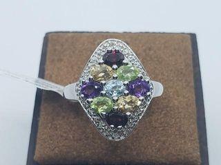 150 Silver Genuine Multi Gemstone 1 7ct  Ring