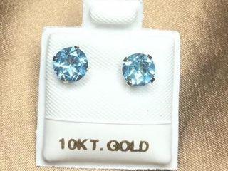 120 10K Blue Topaz 1 6ct  Earrings