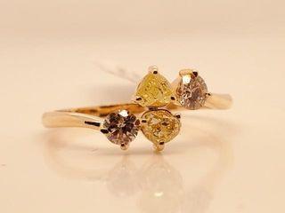 3325 10K Fancy Yellow Brown Diamond 0 36Ct  Si1