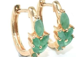 300 RoseGold Plated Sil Emerald  3 9ct  Earrings
