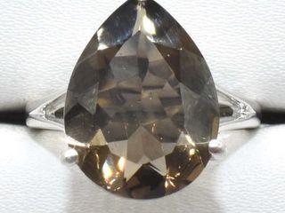 400 Silver Smokey Quartz 4 45ct  Ring