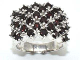 1000 Silver Certified Red Garnet 9 95ct  Ring