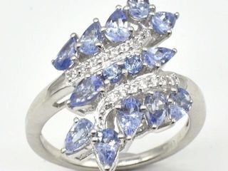 1390 Silver Tanzanite White Topaz 9 9ct  Ring