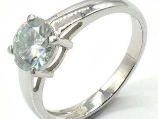 1000 Silver Moissanite  Round 7 5 Mm 3 3ct  Ring