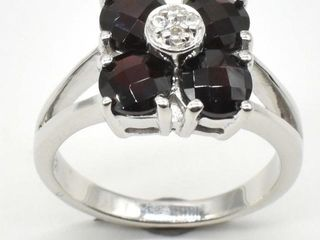 300 Silver Garnet Cz 4 05ct  Ring