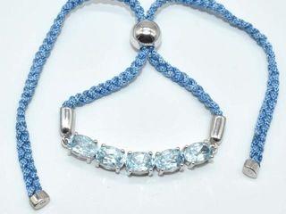 300 Silver Blue Topaz 5 4ct  Bracelet