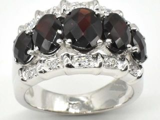 600 Silver Garnet Cz 7 05ct  Ring