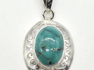 250 Silver Tibetan Turquoise 6 2ct  Pendant