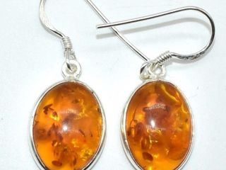 200 Silver Reconstitued Amber 3 05ct  Earrings