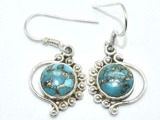 300 Silver Copper Muhave Turquoise  Reconstitued