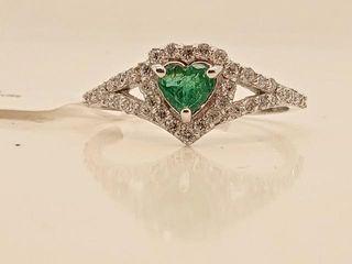 2775 14K Natural Emerald Diamodd 0 36ct  Ring