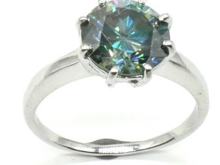 1675 Silver Greenish Blue Moissanite   Round 9 5