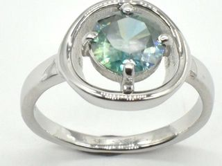 1255 Silver Greenish Blue Moissanite  Round 7 5 M