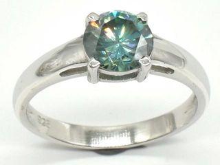 1395 Silver Greenish Blue Moissanite  Round 7 5 M
