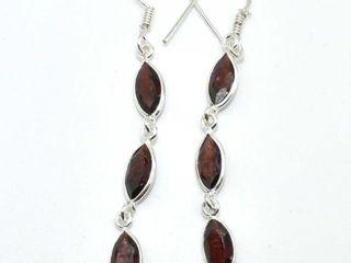 20 Silver Garnet 3 3ct  Earrings