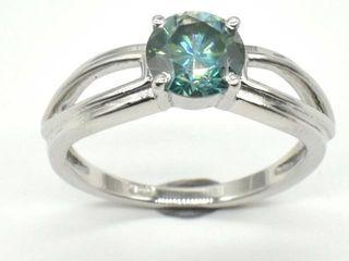 1000 Silver Greenish Blue Moissanite Round 6 5 Mm