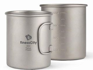2 PCS FINESS CITY TITANIUM CUP 450Ml