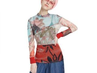 DESIGUAl WOMENS FlORAl T SHIRT SIZE SMAll