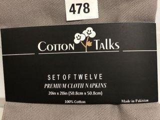 12PC COTTON TAlKS ClOTH NAPKIN 20  X 20
